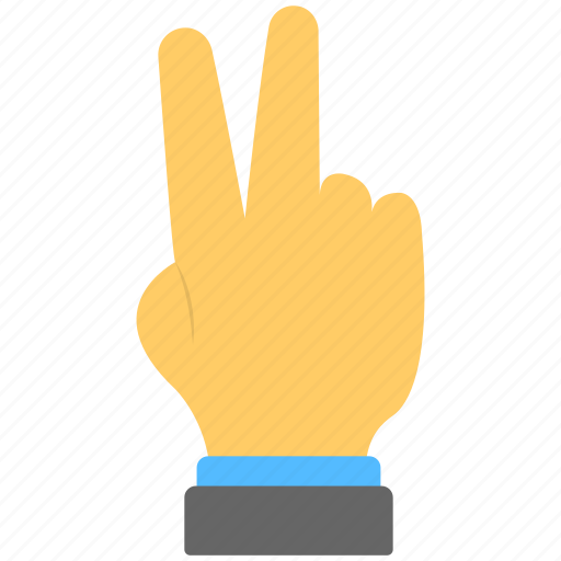 fingers, hand gesture, hand sign, peace sign, victory sign icon