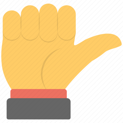 fist, full hand, hand sign, lift sign, pointing thumb icon