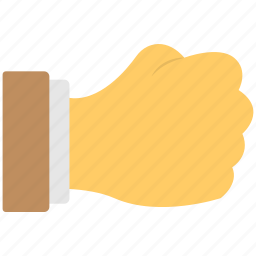 closed hand, fist, five fingers, hand gesture, punch sign icon