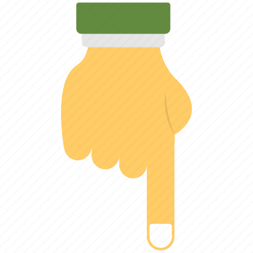 five fingers, flat icon, index finger, pointing, pointing downwards icon