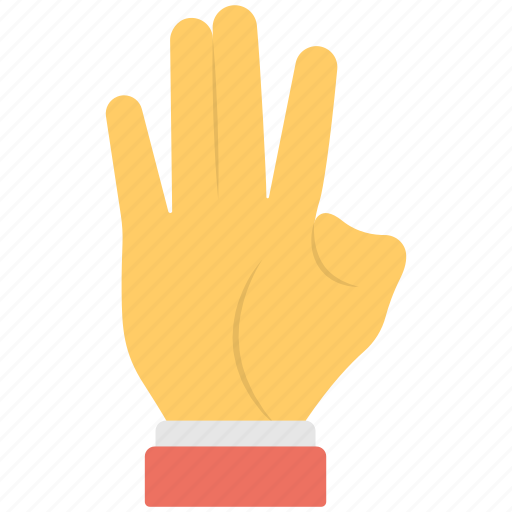 finger sign, four fingers, gestures, hand signs, thumb sign icon