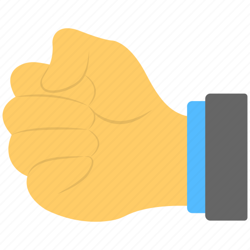 anger sign, closed hand, fist, hand gesture, punch sign icon