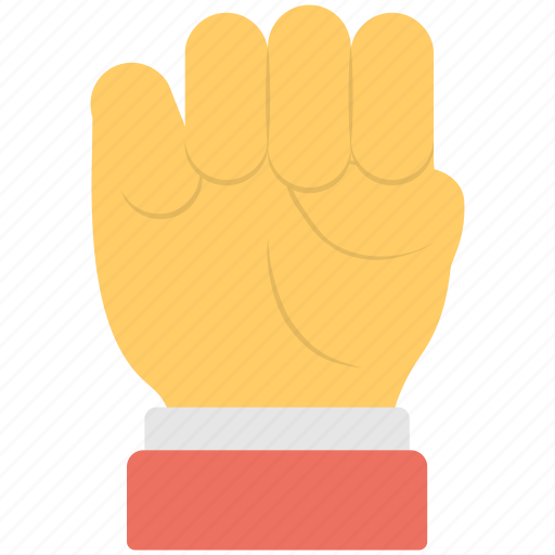anger sign, closed fingers, closed hand, fist, power sign icon