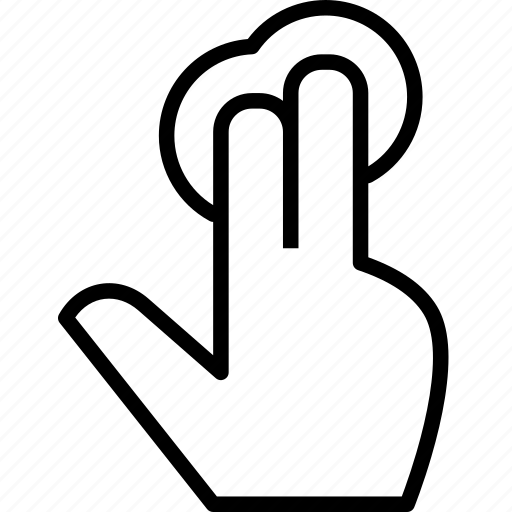 fingers, interact, response, tap, touch, two icon