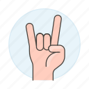 concert, excitement, front, gesture, gestures, hand, horns, love, metal, music, rock, sign, the, you icon