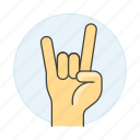 2, concert, excitement, front, gesture, gestures, hand, horns, love, metal, music, rock, sign, the, you icon