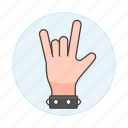 back, bracelet, gesture, gestures, hand, horns, love, metal, music, rock, sign, the, wristband, you icon