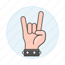 2, back, bracelet, gesture, gestures, hand, horns, love, metal, music, rock, sign, the, wristband, you icon