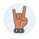 2, 3, back, bracelet, gesture, gestures, hand, horns, love, metal, music, rock, sign, the, wristband, you icon