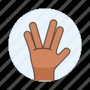 3, alien, gesture, gestures, hand, palm, salute, spock, star, trek, vulcan icon