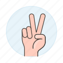 celebration, chill, fingers, gestures, hand, palm, peace, relax, sign, success, v, victory icon