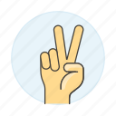 victory, peace, gestures, v, success, fingers, celebration, sign, chill, palm, hand, relax icon