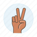 hand, palm, sign, success, v, celebration, fingers, relax, victory, peace, chill, gestures icon