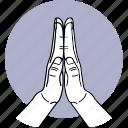 hand, good, pray, together, palm, namaste, polite icon