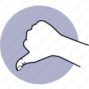hand, thumb, down, dislike, unrecommend, bad