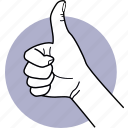 hand, good, thumb, up, praise, recommend, like icon