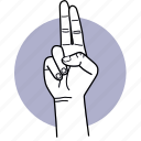 hand, fingers, two, swear, gesture, finger icon