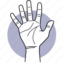 hand, gestures, palm, fingers, five icon