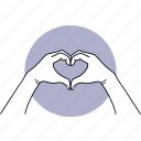 hand, love, heart, gesture, finger, shape, two hands icon