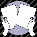 paper, tear, tearing, hand, destroy, half, split icon