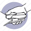 paper, staple, stapler, hand, clip, document icon
