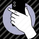 phone, camera, back, backside, behind, pose, finger