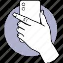 phone, camera, back, backside, behind, holding, smartphone