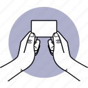 business, card, pass, give, holding, two hands, mockup icon