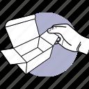 hand, open, box, small icon