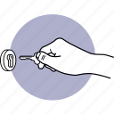 hand, lock, key, door, keyhole, unlock, insert icon