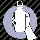 water, bottle, flask, hand, holding, vacuum, steel