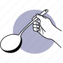 spoon, big, soup, hand, holding, large, kitchen utensil