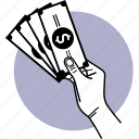 money, hand, paper money, payment, cash, dollar, stack icon