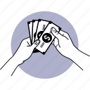money, hand, paper money, cash, holding icon