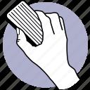 hand, holding, duster, clean, whiteboard, blackboard, erase icon