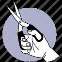 hand, holding, scissor, cut, cutting, cutter, sharp icon