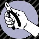 tool, hand, holding, plier, construction, work, equipment