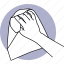 cleaning, wipe, wiping, cloth, fabric, hand, holding icon