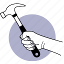 tool, hand, holding, hammer, construction, equipment icon