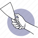 tool, hand, holding, trowel, cement, work, equipment
