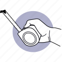 tool, hand, holding, measurement, tape, measure, measuring icon