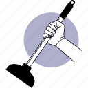 toilet, pump, plunger, clog, plumbing, hand, hand holding icon