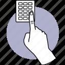 finger, pressing, button, password, security code, enter, hand icon