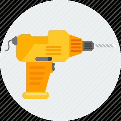 construction, dril, driller, drilling, machine, work, worker icon