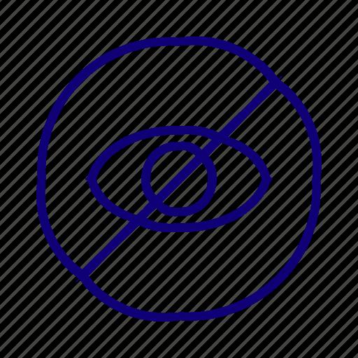 block, eye, hidden, hide, private, unlook icon