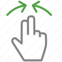 arrow, hand, out, zoom icon