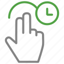 arrow, finger, hand, rotate, time icon