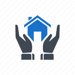 building, hand, home, house, loan icon
