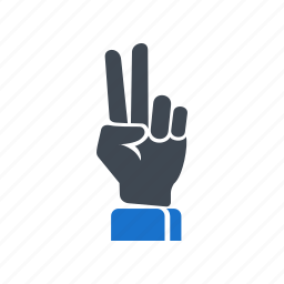 finger, gesture, hand, victory icon