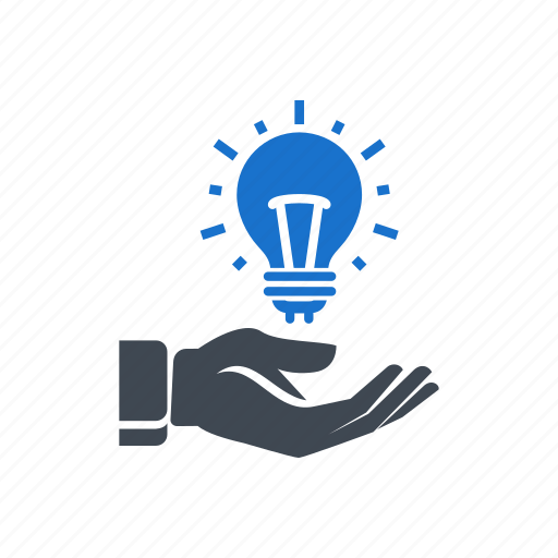 bulb, creative, hand, idea, light icon